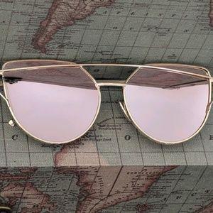 NWT Rose Gold Metallic Cateye Sunglasses